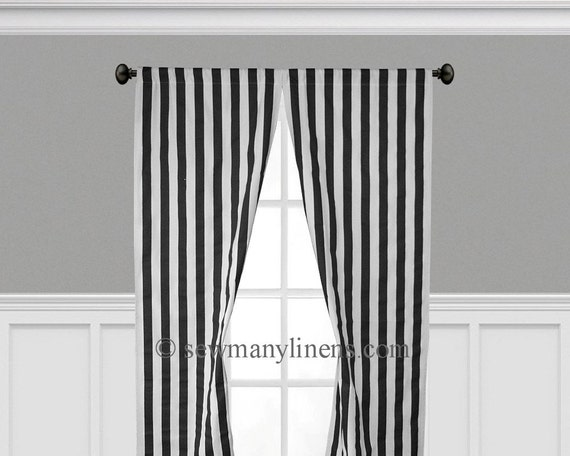 Black and white stripe curtain panels window by sewmanylinens Bold black and white striped curtains