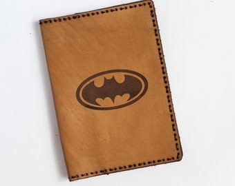 Leather Passport Cover and document holder. Batman symbols. Batman engraving. Passport Case. Travel wallet. Hand Made.