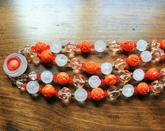 1950's Estate Find  Choker Type Rose Carved Beaded Necklace Orange & White