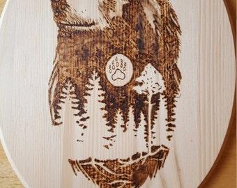 Wooden Bear Plaque