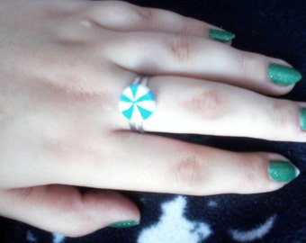 Blue & White Peppermint Ring