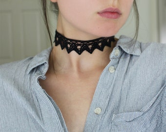 Black Crochet Choker Necklace