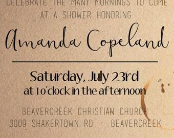 Coffee Themed Bridal Shower Invitation