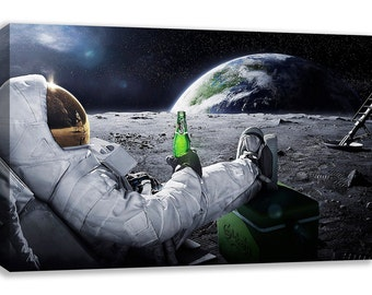 EARTH FROM MOON View Astronaut Carlsberg Canvas Wall Art