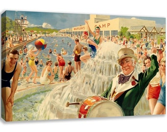 VINTAGE BRITISH SKEGNESS Butlins Seaside Canvas Wall Art