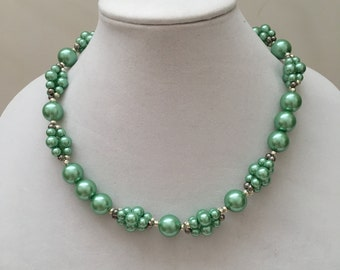 Green Pearl Beaded Necklace, Silver and Green Necklace