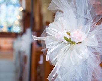 Wedding Decorations Pew Bows, Wedding Pews, Chairs, Aisle ways, Church Doors, Reception Decorations, Beach Wedding