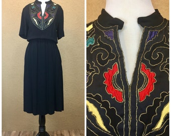 Black Vintage Dress With Colorful Appliqués