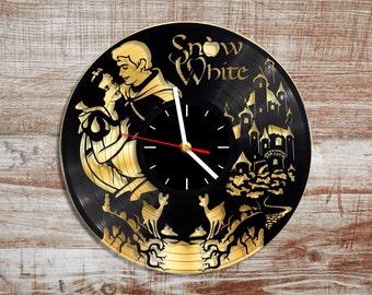 Snow white vinyl wall clock. Gold record.