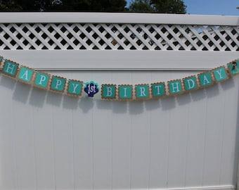 Mermaid First Birthday Banner