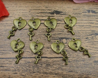 20 Key And Lock Charms, Antique Bronze Tone-RS073