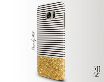 Gold Glitter Black Stripes Samsung S8, Samsung S7 Edge, Samsung S7, iPhone 7 Plus, iPhone 7, HTC One m9, HTC 10, LG g4, lg g5 Case