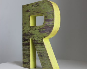 Faux Wood  Yellow Weathered Letters--Faux Reclaimed Wood Decor-Home Decor-Wall Letters-Rustic Wooden Decorative Letters-Wooden Name Letters