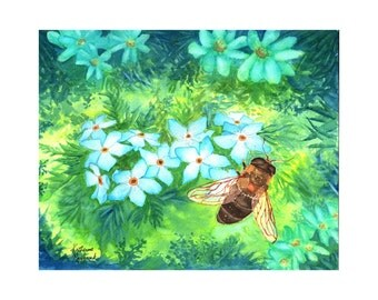 Forget Me Not Print from Original Watercolor Painting bee, flower, nature