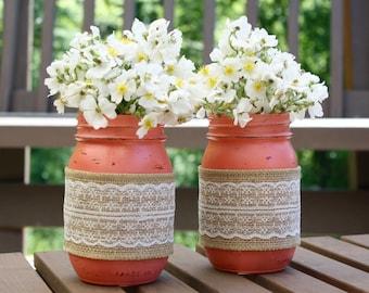 Lace and Burlap Painted Mason Jars set