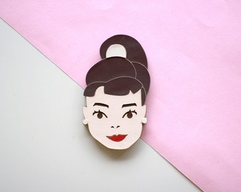 Audrey Hepburn Laser-cut Pin / Brooch / Laser cut jewellery