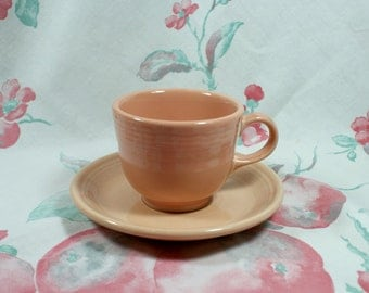Fiestaware Apricot Cup and Saucer, retired color in excellent condition