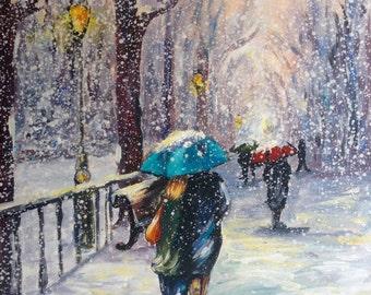 Fun winter - Unique and original oil on canvas signed By Dam Domido