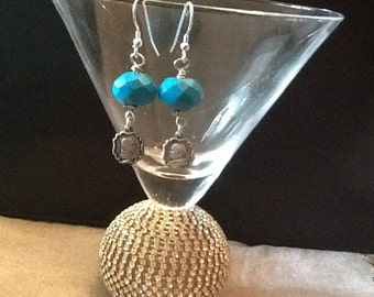 Turquoise Earrings with Matching Catholic Medallions