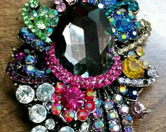 Extravagant Multi Colored Rhinestone Chunky Large Brooch Pin/Necklace Pendant