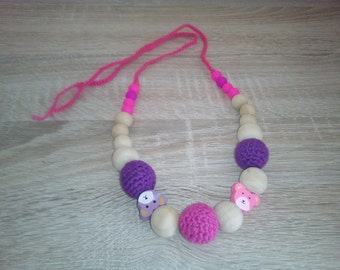 Crochet nursing necklace, crochet teething necklace