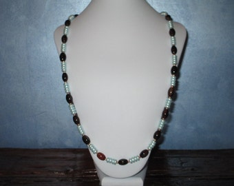 Agate and Light Blue long necklace