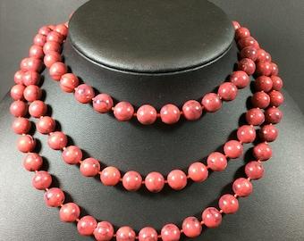 "Magenta Beaded Vintage Necklace 50"" long"