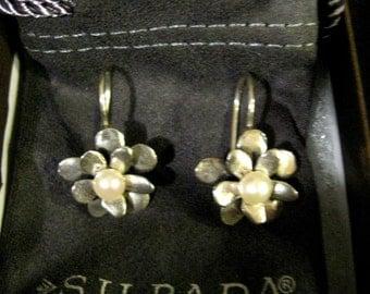 Retired-Silpada-Sterling Silver-Love Bloom-Earrings,Silpada-Earrings,Silpada-Jewelry,Silver-Wire Drops, Pearl-Earrings