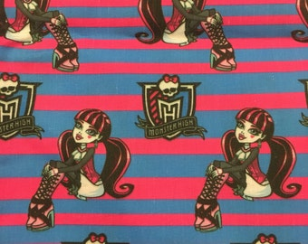 MONSTER HIGH stripe cotton fabric