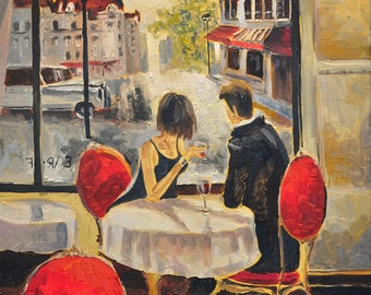 Print Oil Painting Paper Canvas Brown Vine City Cafe Love Dating Restaurant