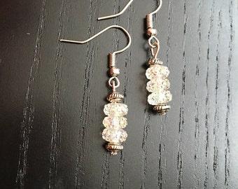 Handmade whitish crystal earrings