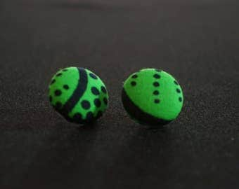 African Fabric button earrings - (Nickel-free)
