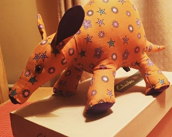 Handmade stuffed anteater aardvark