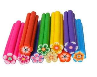 5 Flower Fimo Polymer Clay Rod Canes Nail Art DIY Crafts Supplies Sticks Stickers Beads Slices