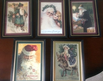 Lot of 5 Reproduction Vintage Framed Christmas Postcards