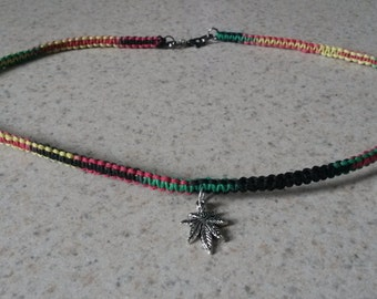 Rasta Colored Hemp Necklace With Charm