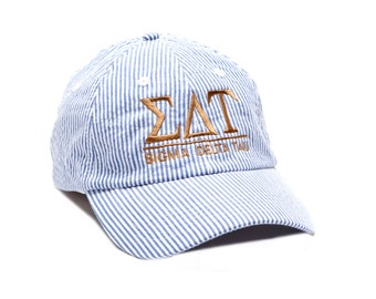 SDT  Sigma Delta Tau Sorority Monogrammed Seersucker Line Baseball Hat.
