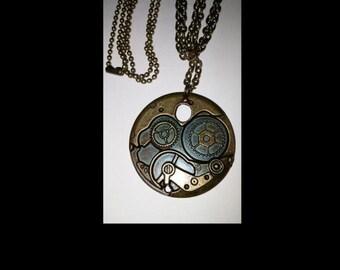 Bronze tone steampunk pendant