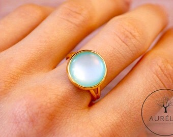 "Gold plated turquoise Mint ring ""Creativity"""