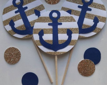 Nautical Cupcake Toppers / Nautical Bachelor Shower / Nautical Baby Shower / Anchor Decor / Cupcake Toppers / Nautical Party / Anchor / Navy