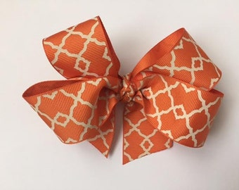 """Handmade Orange Lattice 5"""" Gros Grain Hair Bow with 3"""" clip"""