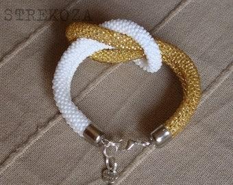 Marine Knot white-gold Beaded bracelet handmade