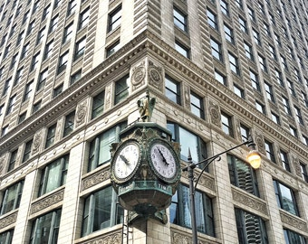 Signature Chicago Clock, Chicago Architecture, Chicago Clocks, Urban Photography, Chicago Photography, City Photography, Chicago Prints