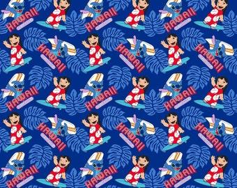 "Disney Fabric - Disney Lilo & Stitch Surf's Up 100% cotton Fabric By the Yard 36""x43"" (SC223)"