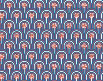 """Pepsi Fabric: PEPSI BLUE - Pepsi Scallops in RED by Camelot Fabric  100% cotton fabric by the yard 36""""x44"""" (N156)"""