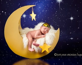 MOON with stars Digital Backdrops, Newborn digital backdrop (moon with white fur for Newborn photography), digital prop