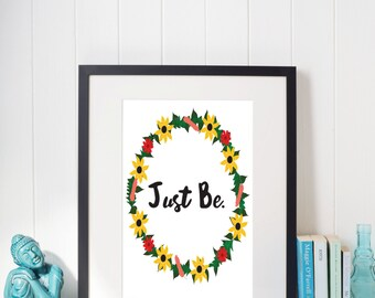 Just Be, Floral Wreath, Sunflower Wreath, digital print, Wall art, digital art, instant download, floral digital print, Home decor