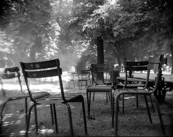 Luxembourg Garden Chairs, Paris Photography, Black&White Photo, Travel Photography, Fine Art Print, Wall Art, Paris, Luxembourg Gardens