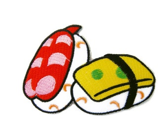 Sushi Japanese Food Embroidered Applique Iron on Patch 9 cm. x 6 cm.