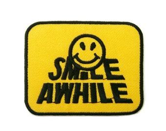 Smile Awhile Smiley Face Embroidered Applique Iron on Patch 7.7 cm. x 6 cm.